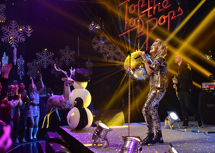 Rita Ora on Xmas TOTP