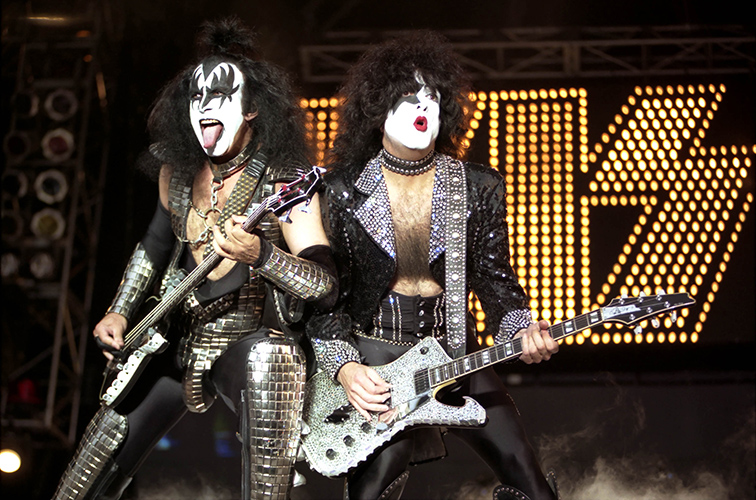 Kiss on stage in Finsbury Park, London 5 Jul. 1997Photo by Mark Allan