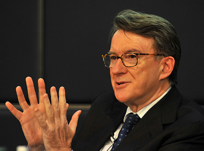 Peter Mandelson at buisiness lecture 1 Mar. 2012Photo by Mark Allan